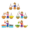 Thailand Women Street Food Seller Set vector image