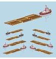 Timber floating on tow vector image