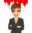 vampire businesswoman standing over flowing blood vector image
