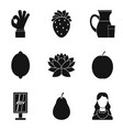 vegetarian cafe icons set simple style vector image vector image