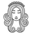 virgo sign beautiful woman face virgin or maiden vector image
