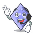 with headphone rhombus mascot cartoon style vector image vector image