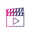 line clapperboard with video movie studio icon vector image