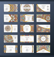banners or visit cards with mandala decoration on vector image