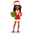 african-american woman in santa claus costume vector image