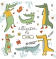 Alligator is cute Colourful hand drawn set of vector image vector image