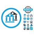 Banks Flat Icon with Bonus vector image