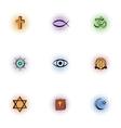 Beliefs icons set pop-art style vector image