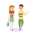 cartoon children walking and talking together vector image vector image