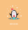 cartoon santa penquin hand writing vector image vector image