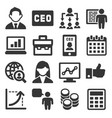 ceo and business management icons set vector image vector image