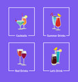 cocktails and summer drinks vector image vector image