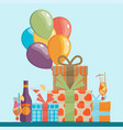 colorful birthday background in flat design style vector image vector image