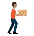 delivery worker lifting goods avatar character vector image