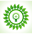 Eco bulb inside the leaf background vector image