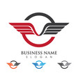 falcon wing logo template icon design vector image vector image