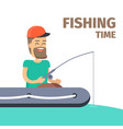 fishing time fisherman character vector image