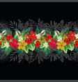 flowers leaves decorative strip black background vector image