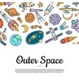 hand drawn space elements background with vector image vector image