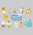 happiness animal cartoon set vector image vector image