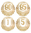 happy anniversary emblems set vintage golden vector image vector image
