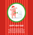 happy new year holidays piglet in santa costume vector image vector image
