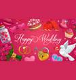 happy wedding calligraphy save date hearts vector image vector image