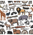 hunting animal and hunter rifle seamless pattern vector image vector image