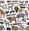 Hunting animal and hunter rifle seamless pattern