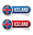 Iceland steel flag button vector image