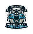 logo emblem a person playing paintball holds two vector image vector image
