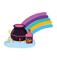 magic witch cauldron with potion bottles in vector image vector image
