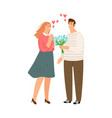 man gives flowers vector image