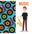 man playing saxophone instrument vector image