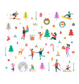 new year pattern of people and holiday symbols vector image
