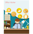 Office Worker on Desk with Office Supplies vector image vector image