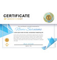 official white certificate with blue triangle vector image vector image