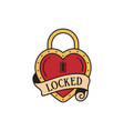 old school tattoo emblem label with heart lock vector image vector image