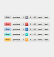 pagination bars in different colors website vector image