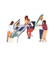 people having fun laughing and watching funny vector image vector image