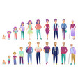 people male and female aging process from baby vector image vector image