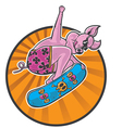 pig skater in action vector image vector image
