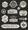 Pizza retro labels vector image