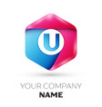 realistic letter u in colorful hexagonal vector image vector image