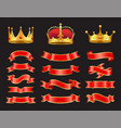 ribbons and crowns set isolated on black backdrop vector image