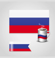 russia flag printed on coffee cup and small flag vector image