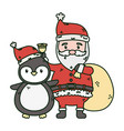 santa with bag and penguin celebration merry vector image vector image