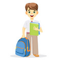 schoolboy with backpack and textbook vector image