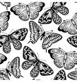 seamless background butterflies black and white vector image vector image
