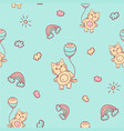seamless cartoon pattern little kitten vector image